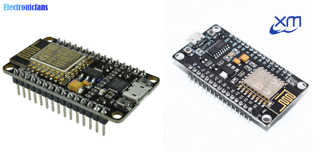 "Two common NodeMCU boards found on AliExpress: the one on the left is branded as ""v2"", and the right ""v3"". Notice the pin labels on the v3 are horizontal and take up more space, making the board uncomfortably large."